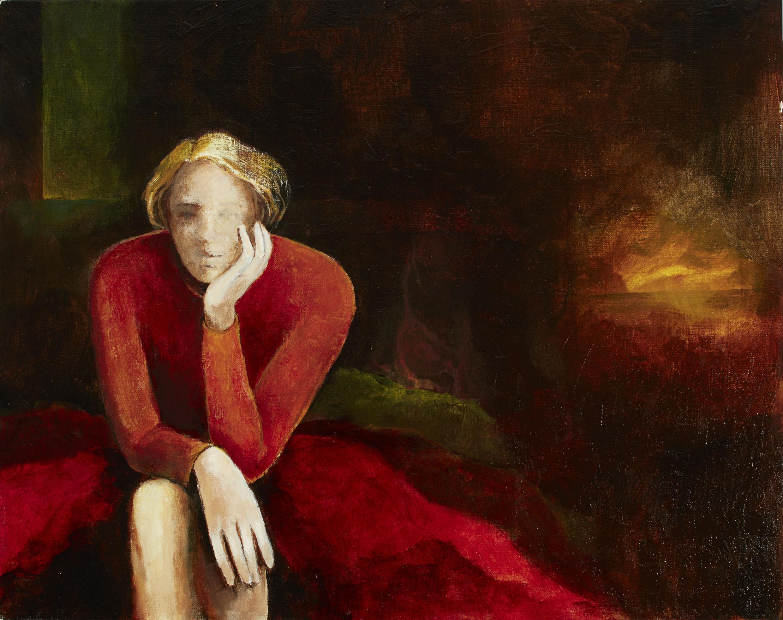 Margaret Egan, Listening to the World, acrylic on linen, 40 x 50cm