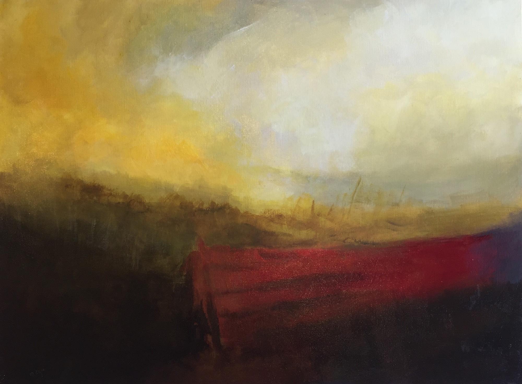 Margaret Egan, Red Boat, acrylic on linen, 76x110cm