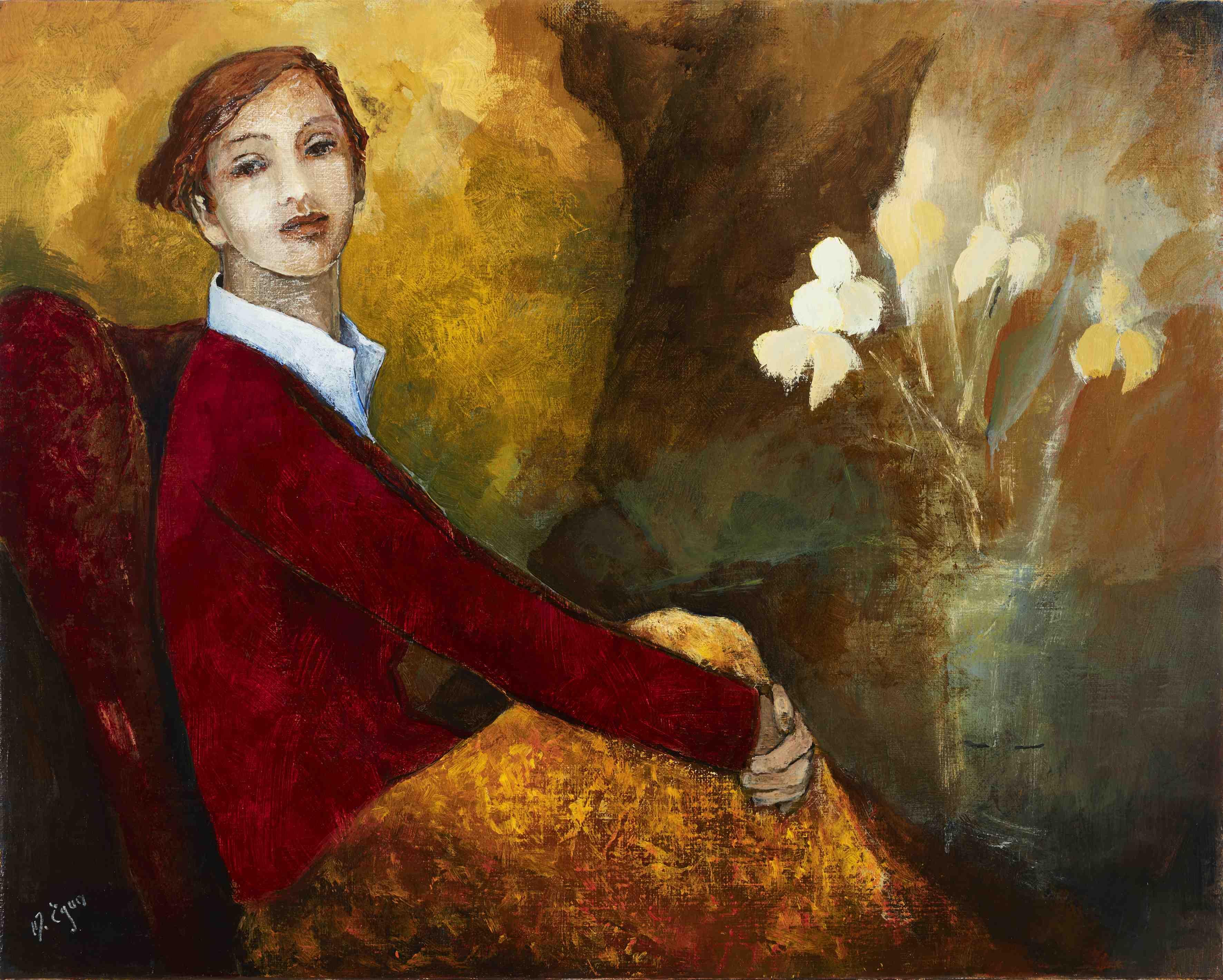Margaret Egan, Curious, 39 x 49 cm, acrylic on linen