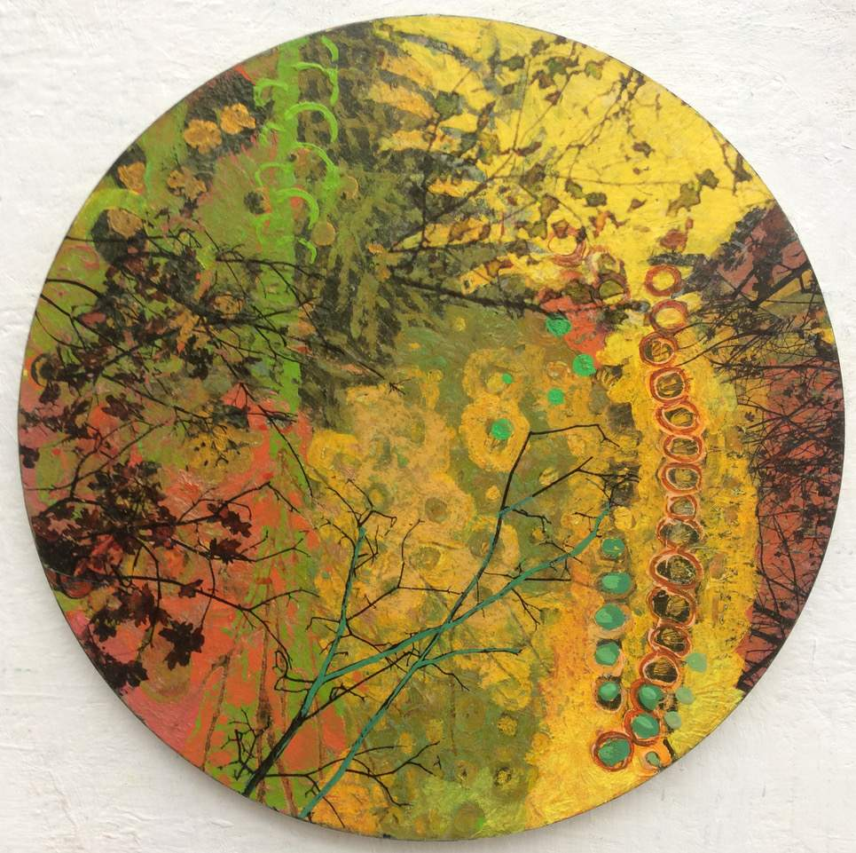 Frances Ryan, Season of Reverence 1, oil and collage on panel, 30 cms diameter