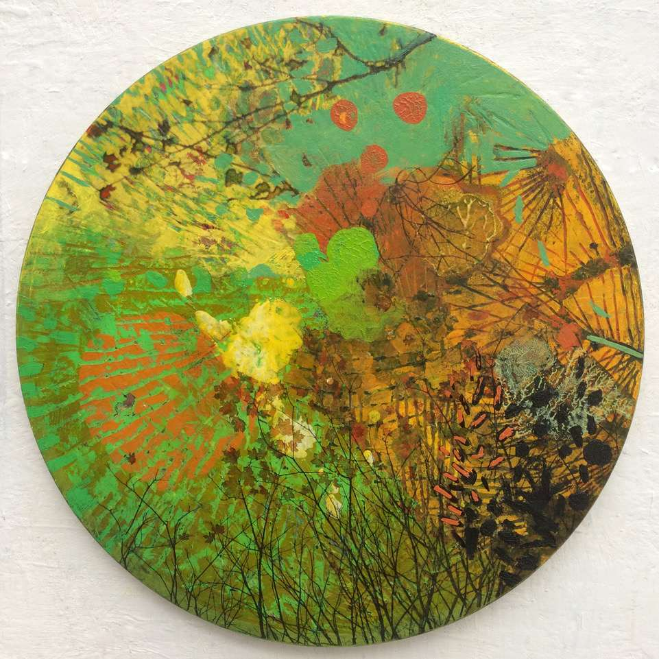 Frances Ryan, Season of Reverence 2, oil and collage on panel, 30cms diameter