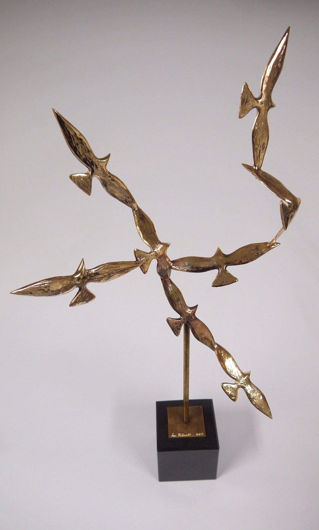Ian Pollock, Golden Birds of the Soul, bronze and black polished granite, unique, 67 x 30 x 18cm